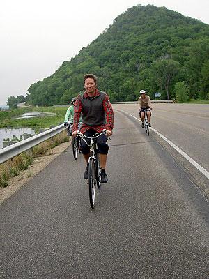 Chris Kostman riding north on Highway 61