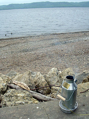 The Kelly Kettle heating up by Lake Pepin