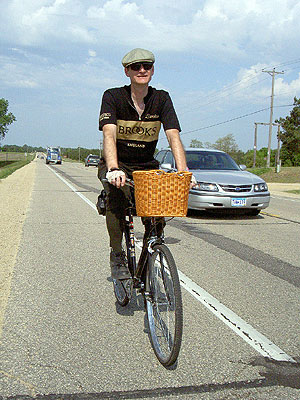 Paul in his Brooks jersey along Hwy 35