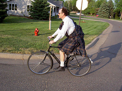 Paul riding the Rudge in his Great Kilt