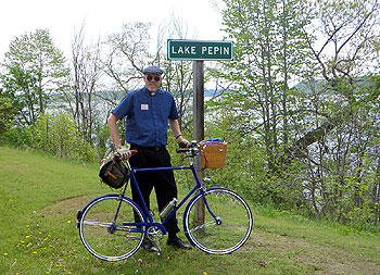 The Quicker Vicar at the Lake Pepin sign