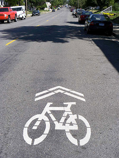 New bike traffic markings on Bryant Avenue in Minneapolis