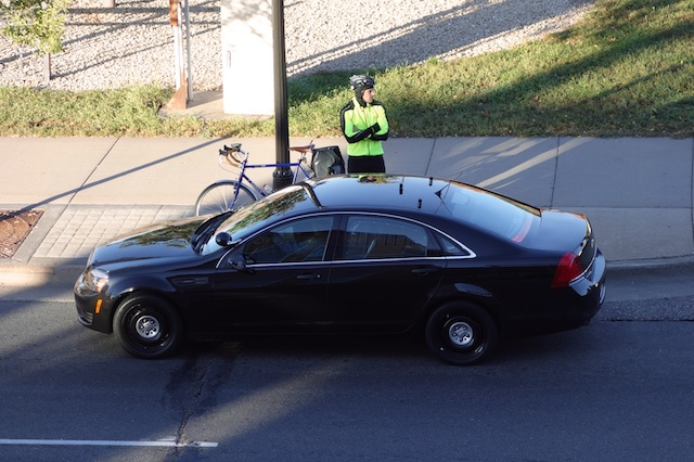 Cyclist stopped by the cops, Saint Paul, October 2014