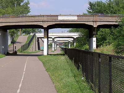 View down Midtown Greenway