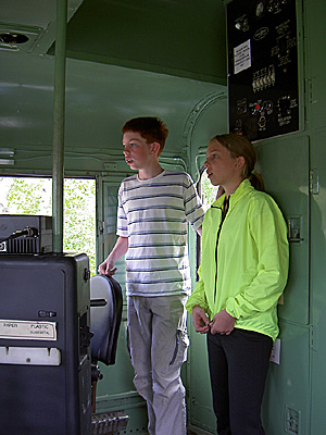 Henry and Geneva in engine cab