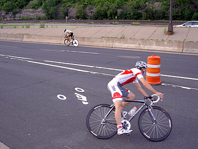 Two riders at turn