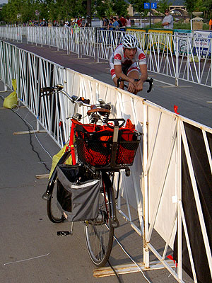 My bike and incoming racer at finish