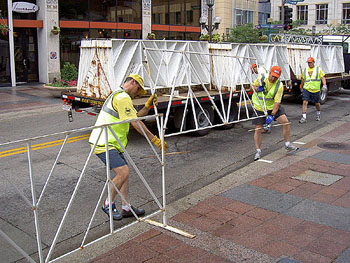 Setting up fencing is a two-man operation