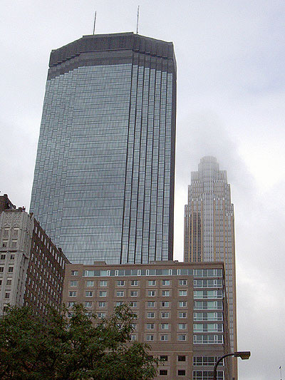 Minneapolis buildings in rainclouds