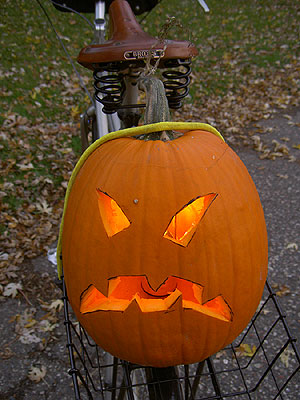 Pumpkin in bicycle basket