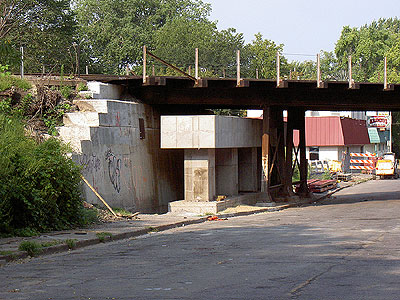 The new supports for the Como Avenue rail bridge by Mannings