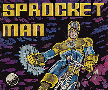 Sprocket Man comic cover from Raleigh Bicycles