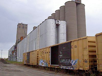 Grain elevators where U of M stadium will go
