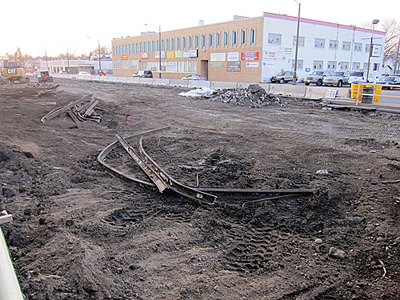 Old streetcar tracks dug up on University Avenue