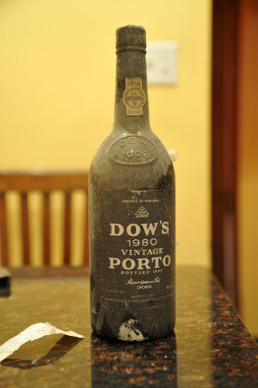 A bottle of 1980 Dows Porto retrieved from the cellars for Thanksgiving dinner