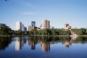 Minneapolis Skyline over Loring Park Pond with a 28mm