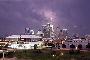 Downtown Minneapolis with Lightning after Dark