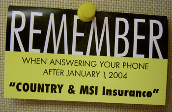 Card reminding us of new phone greeting after 1/1/2004