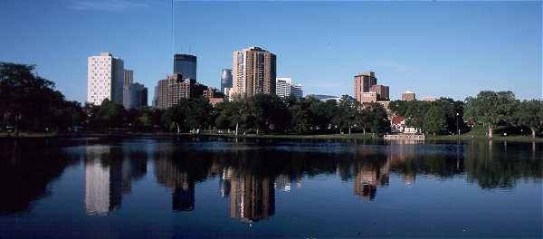 Minneapolis Skyline over Loring Park Pond as a panorama
