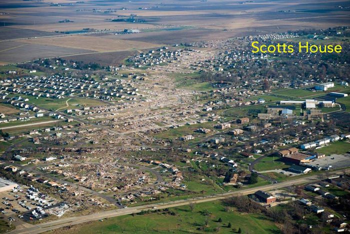 Aerial view of Washington, Illinois after tornado of 11/17/2013